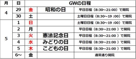 GW日程表
